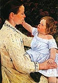 The Childs Caress 1890 - Mary Cassatt reproduction oil painting