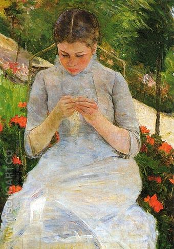 Young Woman Sewing 1883 - Mary Cassatt reproduction oil painting