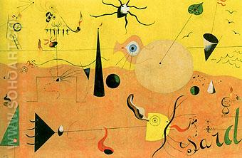 Catalan Landscape The Hunter 1923 - Joan Miro reproduction oil painting