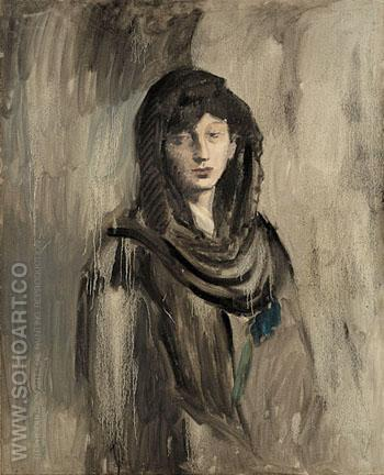 Fernande with a Black Mantilla 1905 - Pablo Picasso reproduction oil painting