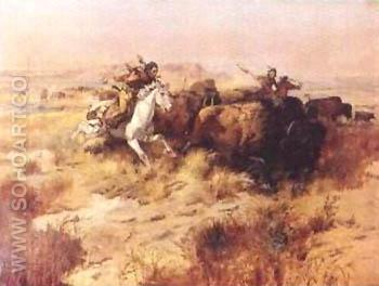 Indian Buffalo Hunt - Charles M Russell reproduction oil painting