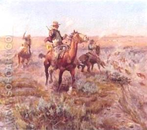 Smokin em Out - Charles M Russell reproduction oil painting