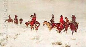 Lost in a Snow Storm - Charles M Russell reproduction oil painting