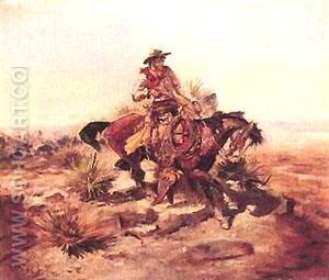 Riding Line - Charles M Russell reproduction oil painting