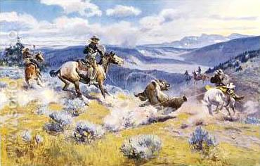 Loops and Swift Horses are Surer than Lead - Charles M Russell reproduction oil painting