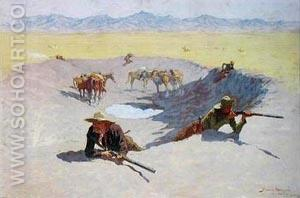 The Fight for the Waterhole - Frederic Remington reproduction oil painting