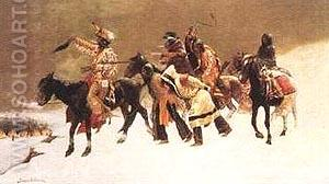Return of the Blackfoot War Party - Frederic Remington reproduction oil painting