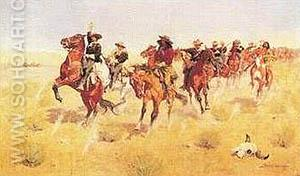 Remington, Halt - Dismount - Frederic Remington reproduction oil painting