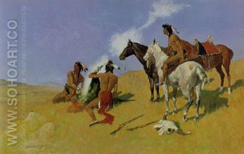 The Smoke Signal - Frederic Remington reproduction oil painting