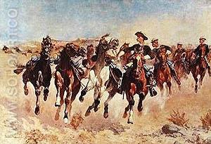 Dismounted: The Fourth Troopers Moving the Lead Horses - Frederic Remington reproduction oil painting