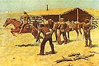 Coming and Going of the Pony Express (1900) - Frederic Remington reproduction oil painting