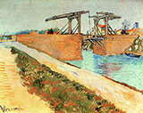 Langlois Bridge at Arles with Road Alongside the Canal - Vincent van Gogh reproduction oil painting