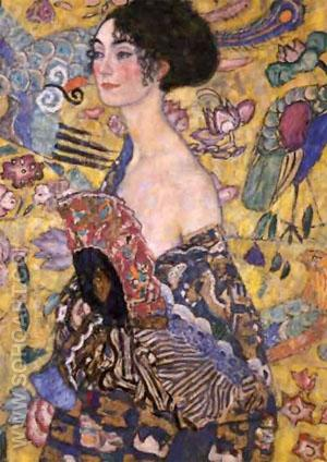 Lady with Fan c1917 - Gustav Klimt reproduction oil painting