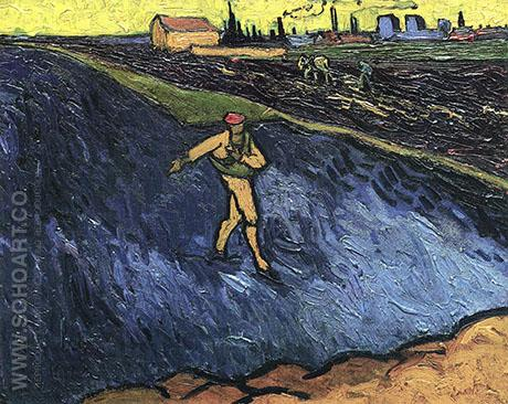 The Sower: Outskirts of Arles in the Background - Vincent van Gogh reproduction oil painting