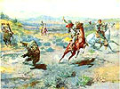 Roping a Grizzly - Charles M Russell reproduction oil painting