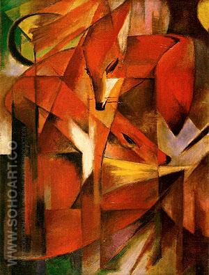 Foxes 1913 - Franz Marc reproduction oil painting