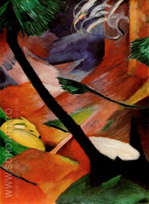Deer in the Woods II - Franz Marc reproduction oil painting