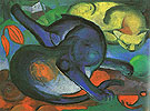 Two Cats 1912 - Franz Marc reproduction oil painting