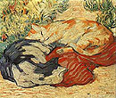 Cats on a Red Cloth 1909 - Franz Marc reproduction oil painting