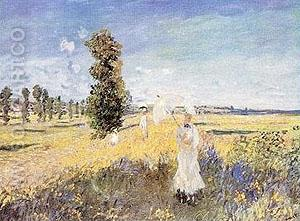 La Promenade Argenteuil - Claude Monet reproduction oil painting