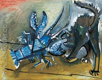 Lobster and Cat - Pablo Picasso reproduction oil painting