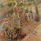 Apple Picking 1886 - Camille Pissarro reproduction oil painting