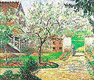 Plum Trees in Bloom Eragny - Camille Pissarro reproduction oil painting