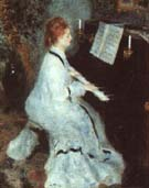 Lady at the Piano 1875 - Pierre Auguste Renoir reproduction oil painting
