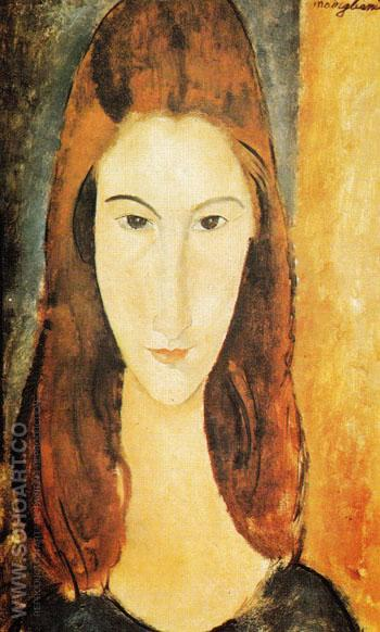 Portrait of Jeanne Hebuterne - Amedeo Modigliani reproduction oil painting