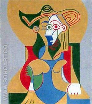 Seated Woman in Yellow and Green Hat. - Pablo Picasso reproduction oil painting