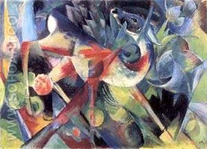 Deer in a Flower Garden - Franz Marc reproduction oil painting