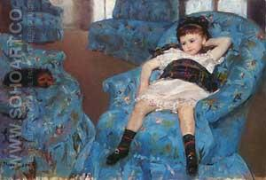 Little Girl in a Blue Armchair, 1878 - Mary Cassatt reproduction oil painting