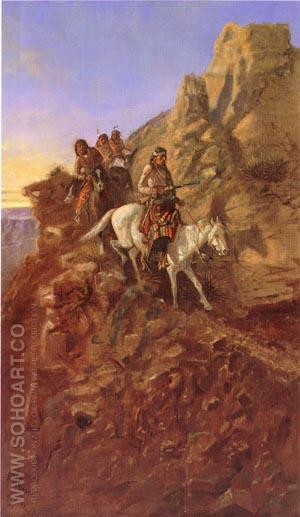 There May Be Danger Ahead (Hunting Party on Mountain Trail) - Charles M Russell reproduction oil painting