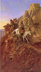 There May Be Danger Ahead (Hunting Party on Mountain Trail) - Charles M Russell