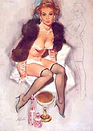 KEEPING WARM - Pin Ups reproduction oil painting