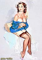 PRETTY IN BLUE - Pin Ups reproduction oil painting