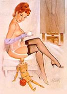 COFFEE BREAK - Pin Ups reproduction oil painting