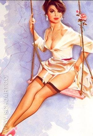 ROSE ON A SWING - Pin Ups reproduction oil painting