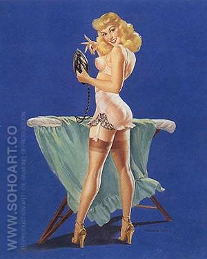 A PRESS NEED (Bass) - Pin Ups reproduction oil painting