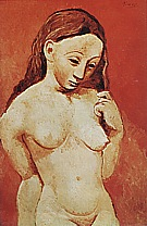 Nude against a Red Background  1906 - Pablo Picasso reproduction oil painting