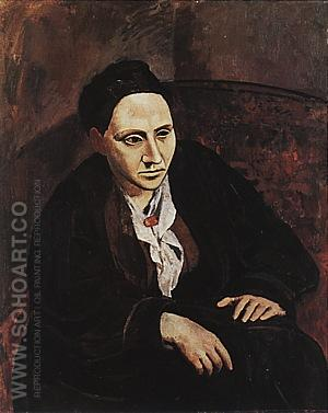 Portrait of Gertrude Stein  1905-06 - Pablo Picasso reproduction oil painting