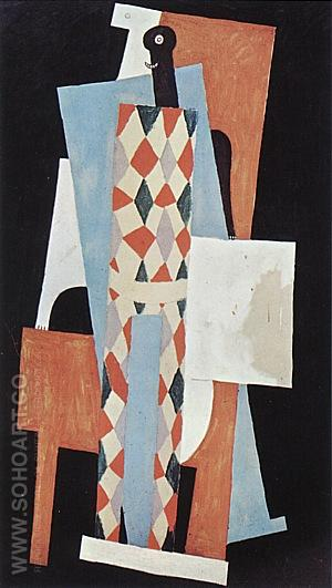 Harlequin  1915 - Pablo Picasso reproduction oil painting