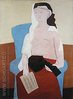 Woman with a Mandolin  1925 - Pablo Picasso reproduction oil painting