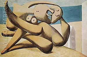Figures by the Sea (The Kiss)  1931 - Pablo Picasso reproduction oil painting
