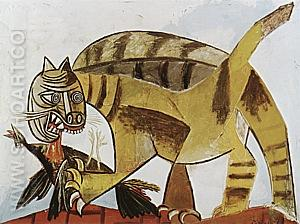 Cat Devouring a Bird  1939 - Pablo Picasso reproduction oil painting