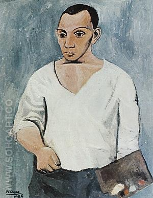 Self-Portrait with Palette  1906 - Pablo Picasso reproduction oil painting