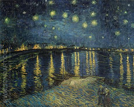 Starry Night over the Rhone  1888 - Vincent van Gogh reproduction oil painting