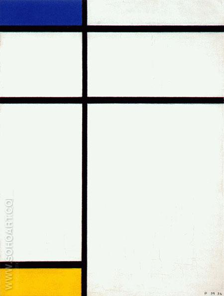 Composition III with Blue Yellow and White 1936 - Piet Mondrian reproduction oil painting