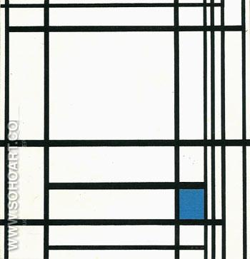 Composition with Blue 1937 - Piet Mondrian reproduction oil painting