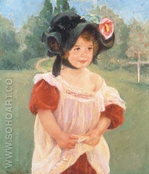 Margot Standing in a Garden - Mary Cassatt reproduction oil painting
